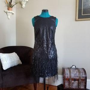 Sequin & Feathers Dress Black - Size 4